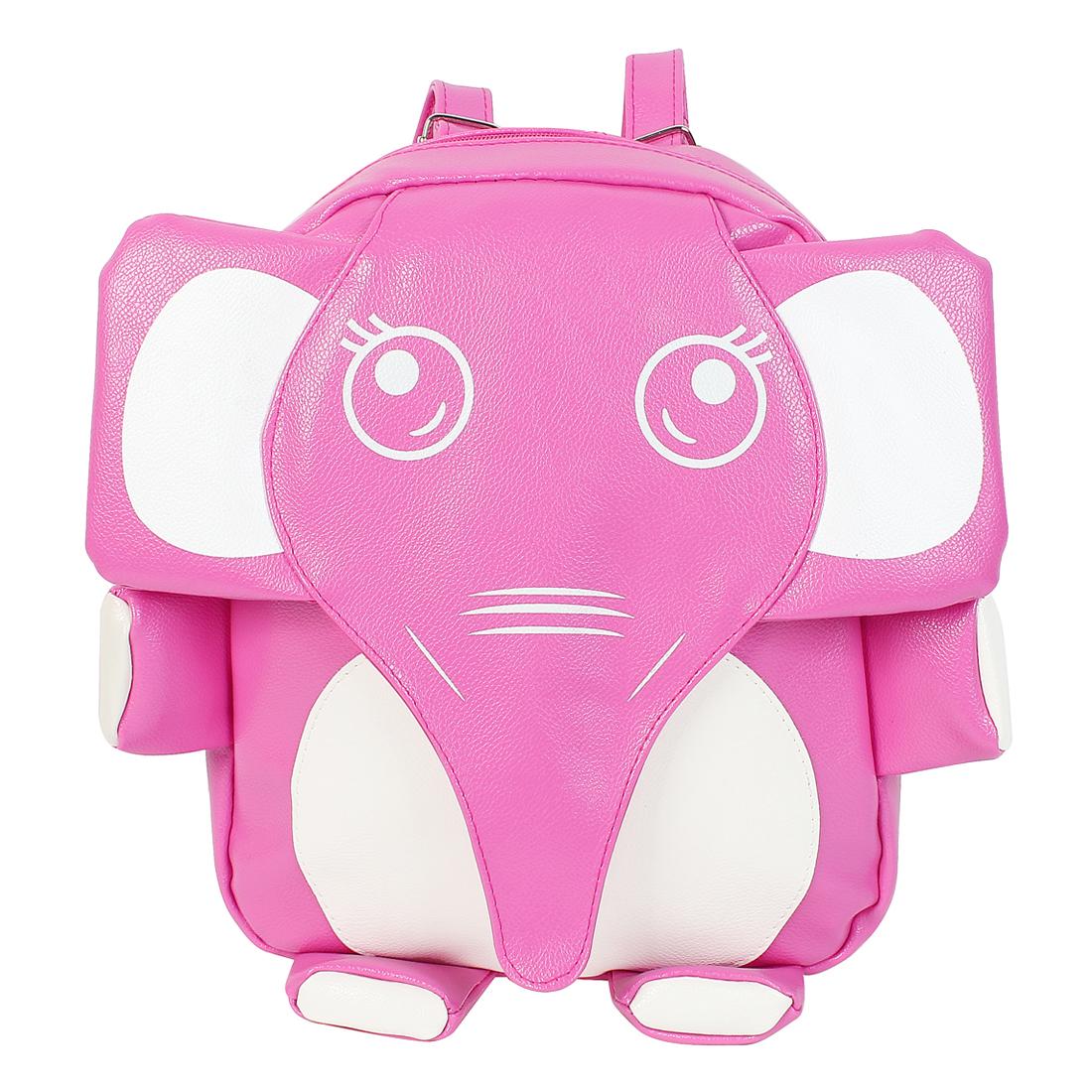 2015 New PU Leather Elephant Pattern Cute Mini Backpack School Bookbag Pink