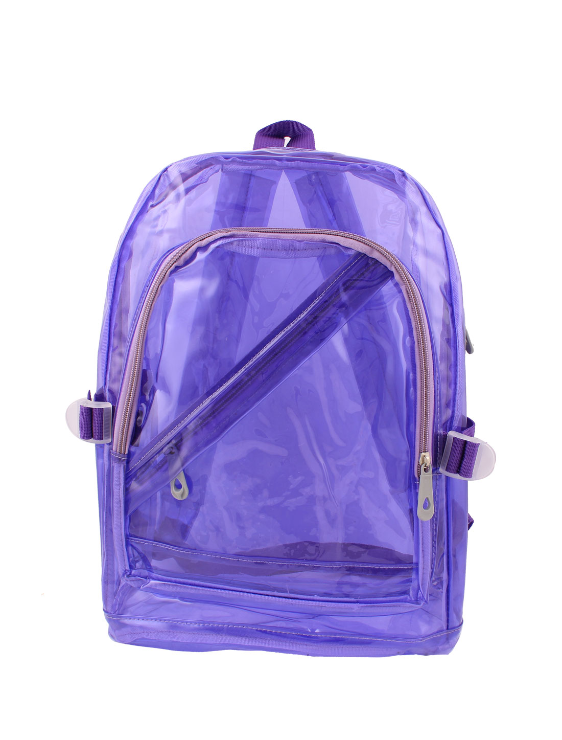 2015 New Outdoor Transparency Clear Zipper Backpack Satchel Knapsack Purple