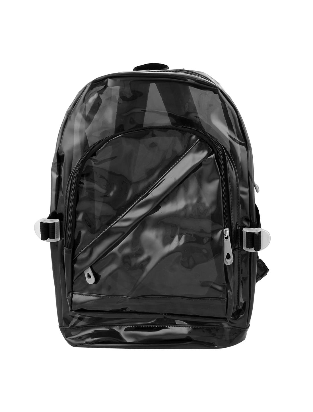 2015 New Outdoor Transparency Clear Zipper Backpack Satchel Knapsack Black