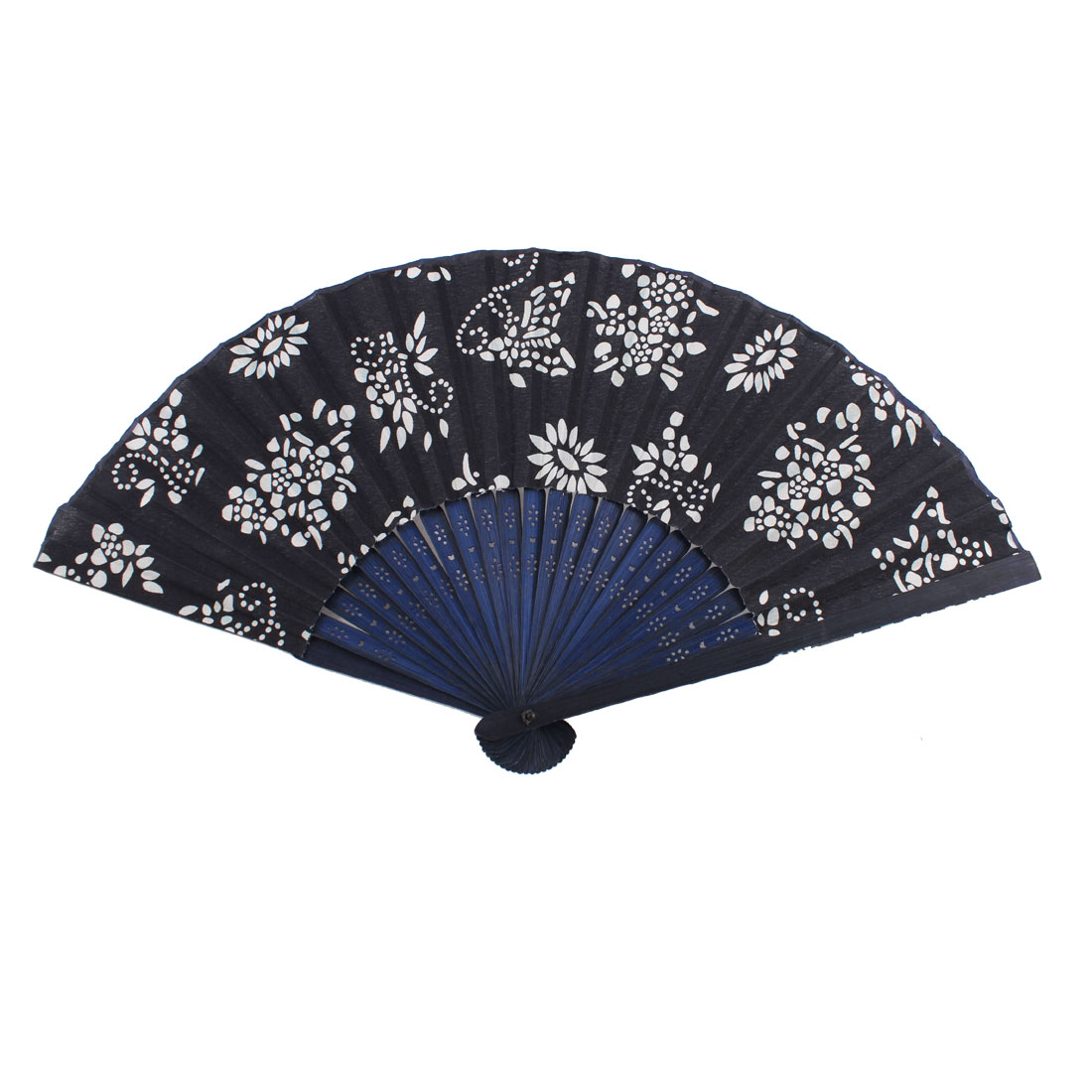 Bamboo Handle Fabric White Flower Pattern Folding Hand Fan Navy Blue