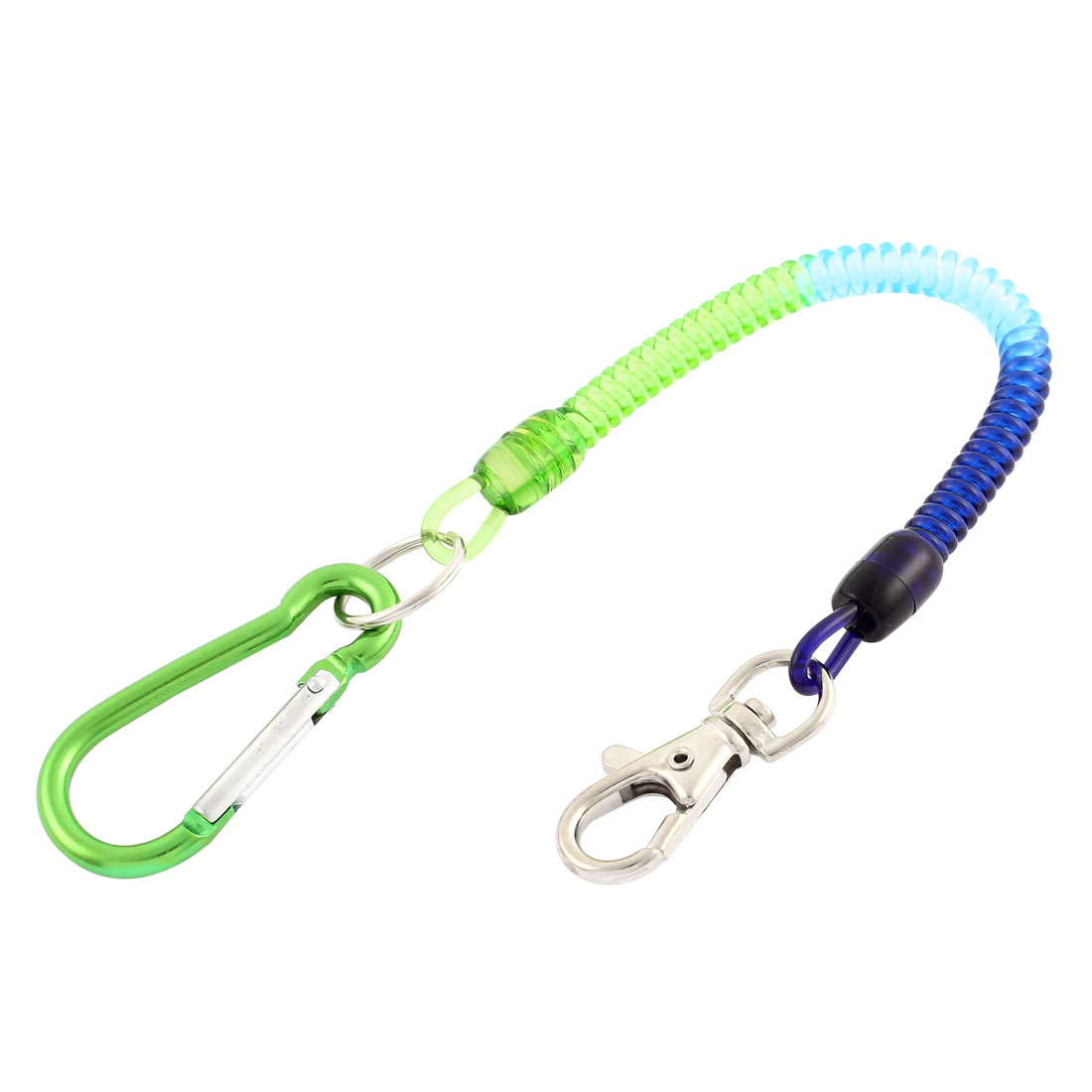 Green Carabiner Hook Spring Stretchy Coil Key Chain Cord w Lobster Clasp