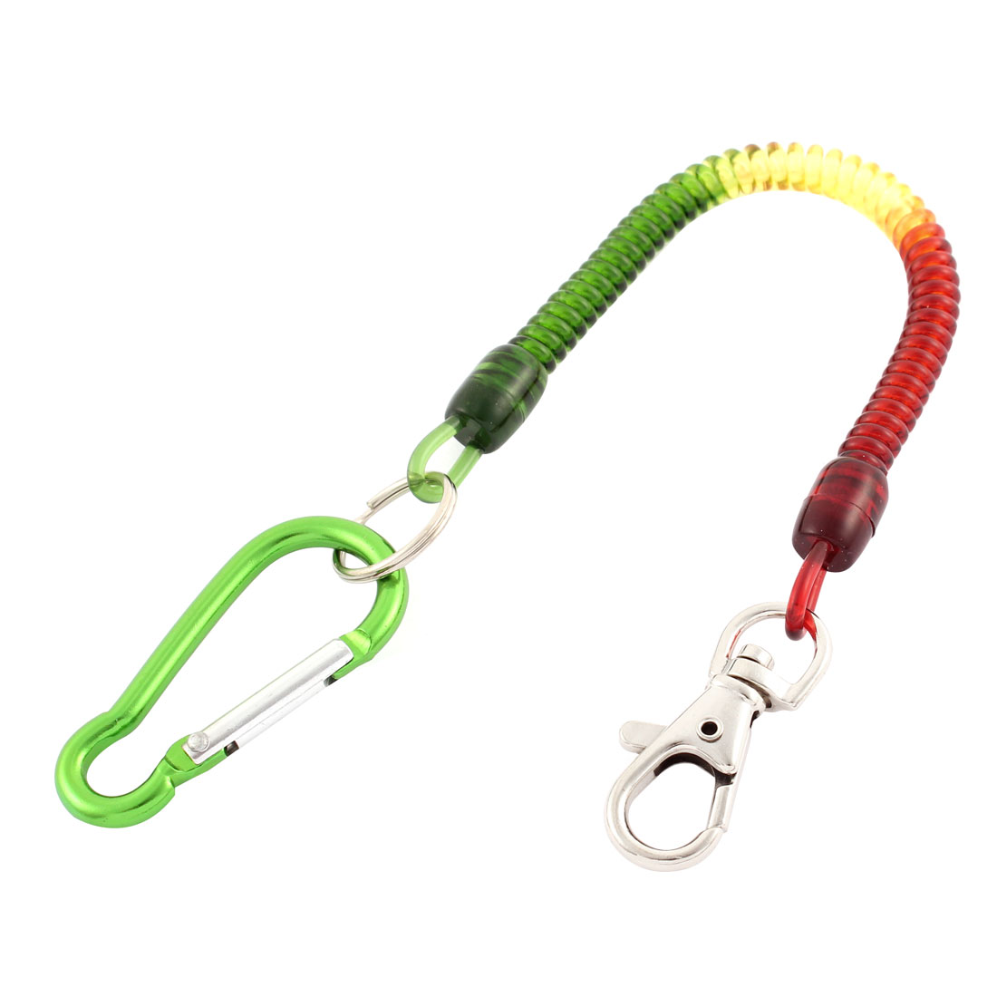 Green Carabiner Hook Spring Stretchy Coil Telephone Key Chain w Lobster Clasp
