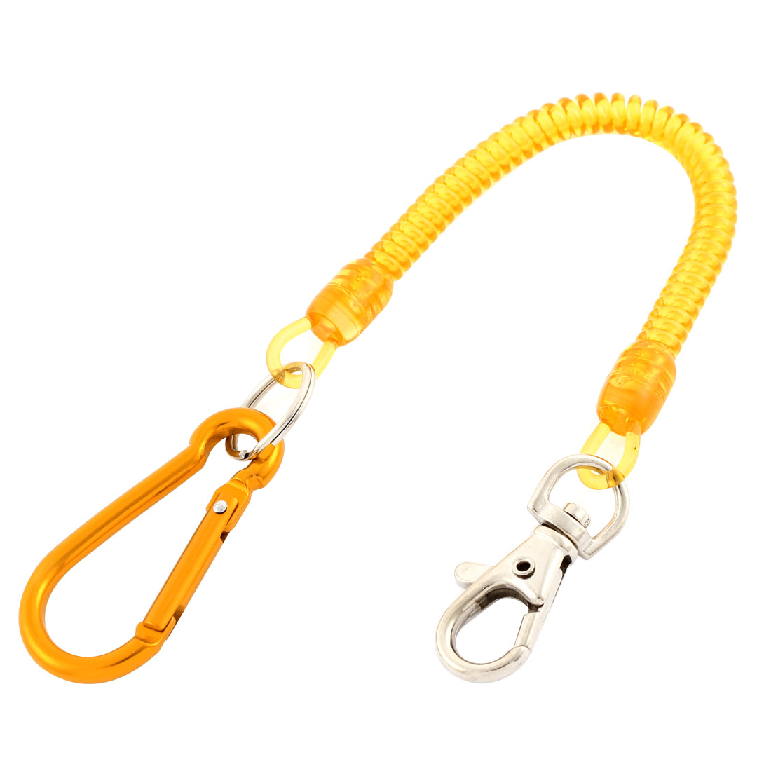 Carabiner Hook Orange Coil Lanyard Spring Key Chain w Lobster Clasp