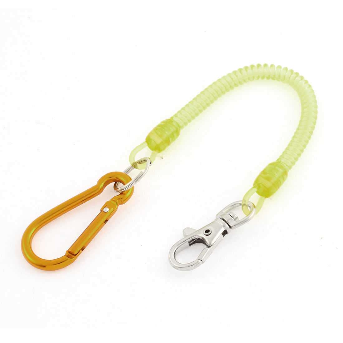 Carabiner Hook Yellow Coil Lanyard Spring Key Chain w Lobster Clasp