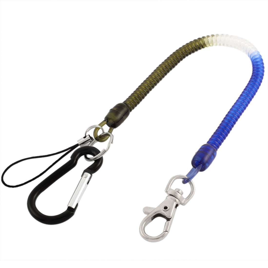 Carabiner Hook Spring Stretchy Strap Coil Keyring Chain Cord Clip Lobster Clasp