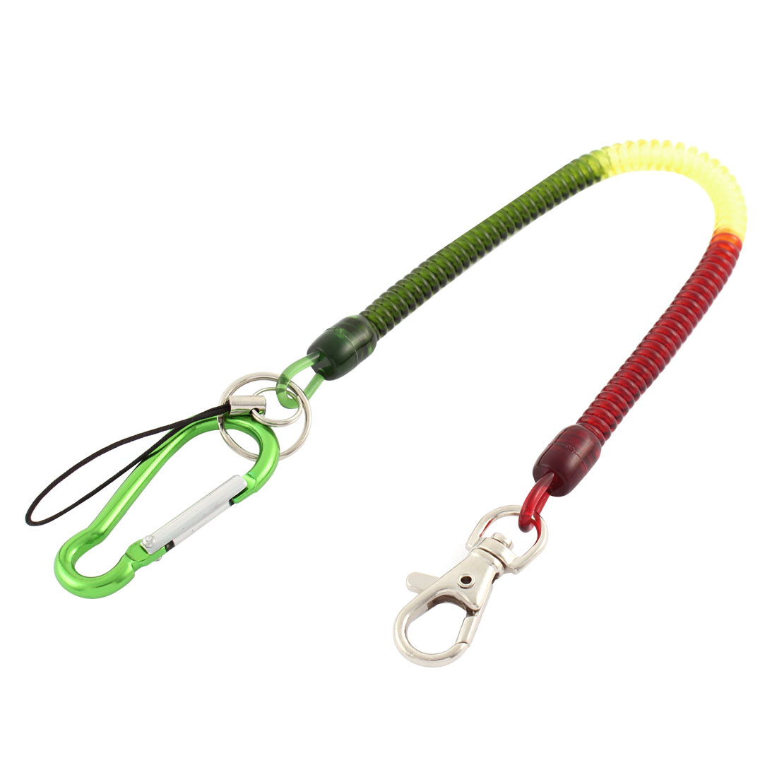 Outdoor Carabiner Hook Spring Stretchy Coil Key Chain Cord w Lobster Clasp
