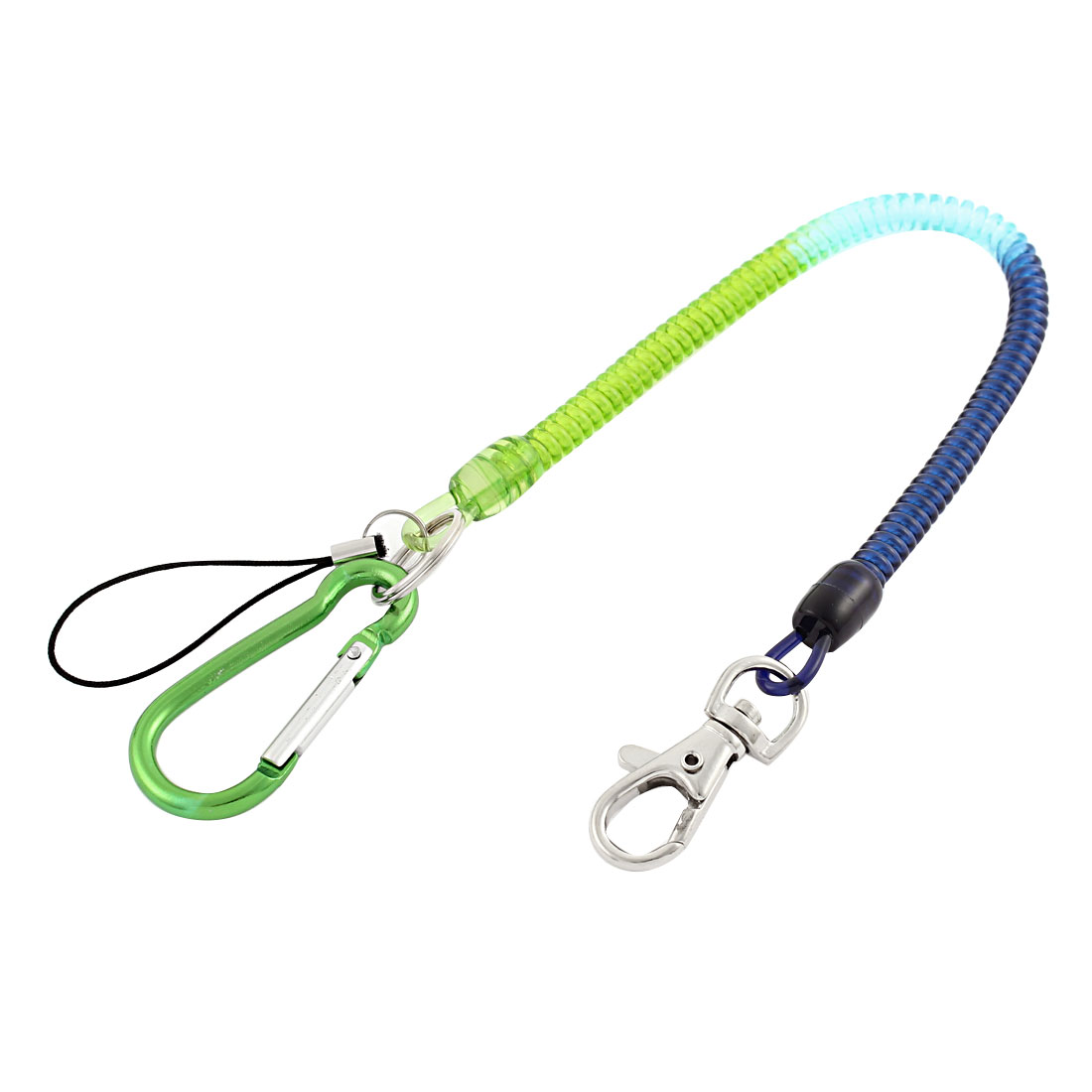 Carabiner Hook Spring Elastic Coil Safety Key Chain Cord w Lobster Clasp