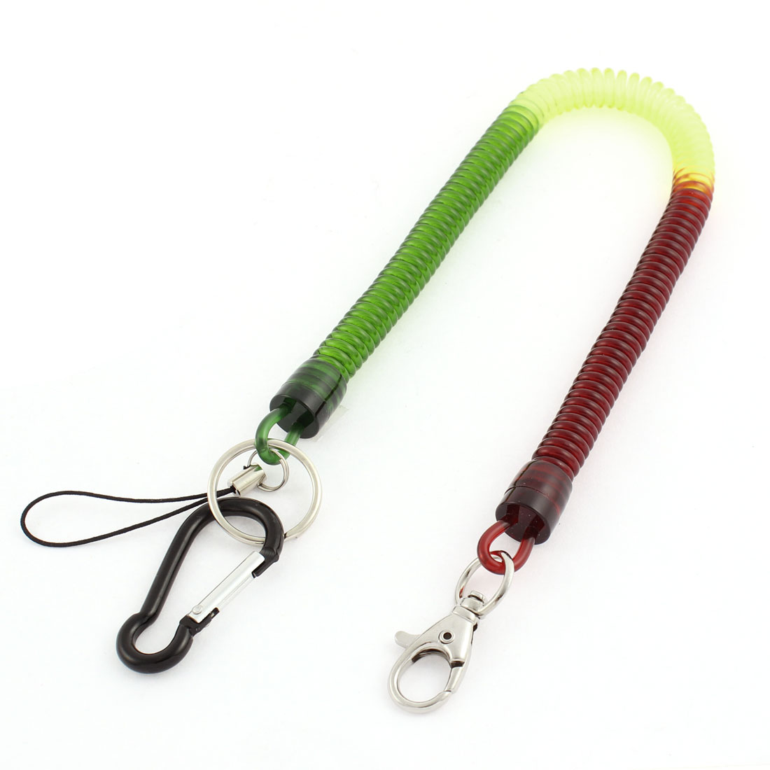 Carabiner Hook Spring Stretchy Coil Key Chain Strap w Lobster Clasp