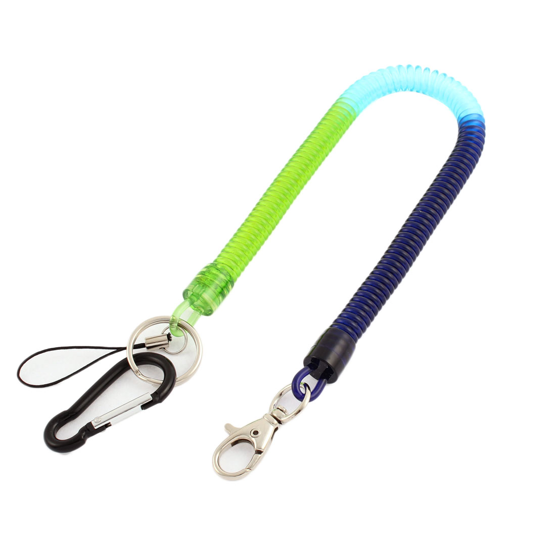 Carabiner Hook Spring Stretchy Coil Keyring Key Chain w Lobster Clasp