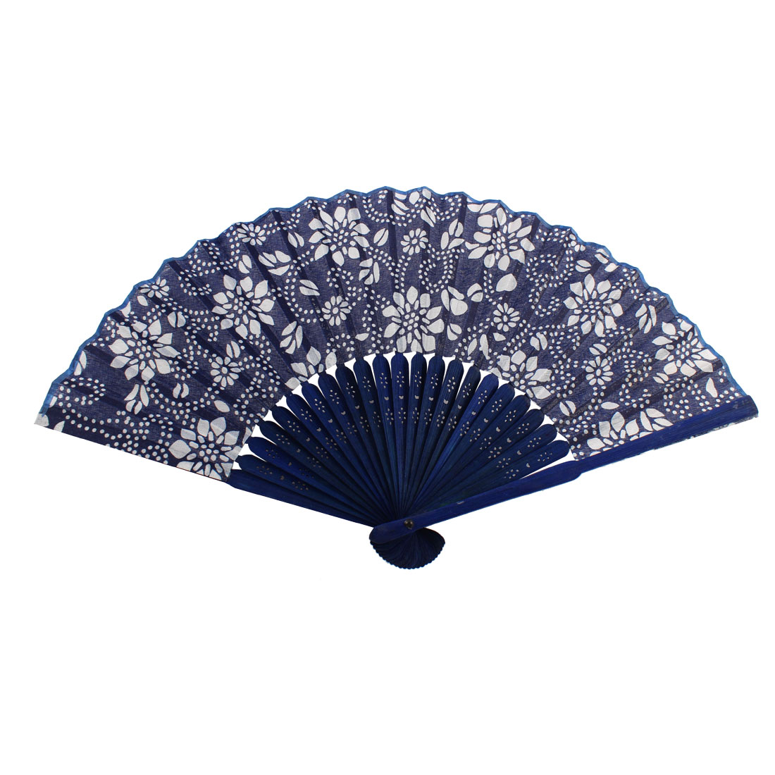 Chinese Style Bamboo Handle Fabric Flower Print Folding Hand Fan Navy Blue