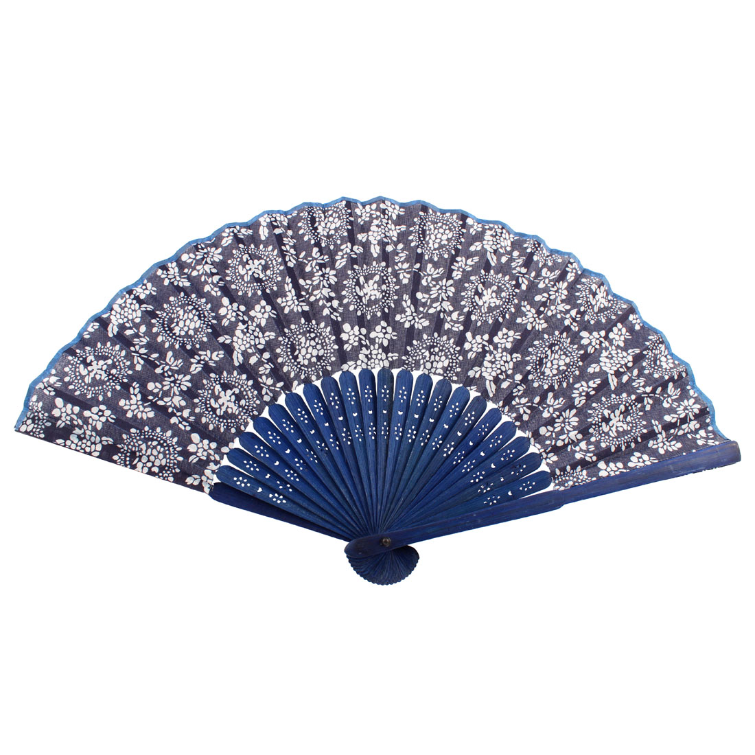 Bamboo Handle Fabric White Flower Print Folding Hand Fan Navy Blue