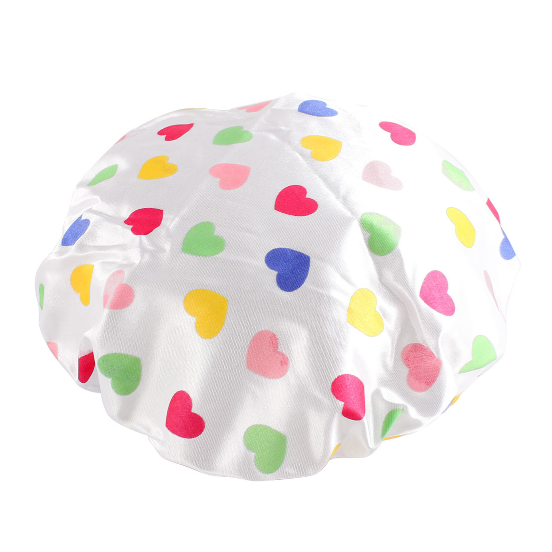 Lady Nylon Multicolor Heart Print Water Resistance Bathing Hat Shower Cap White