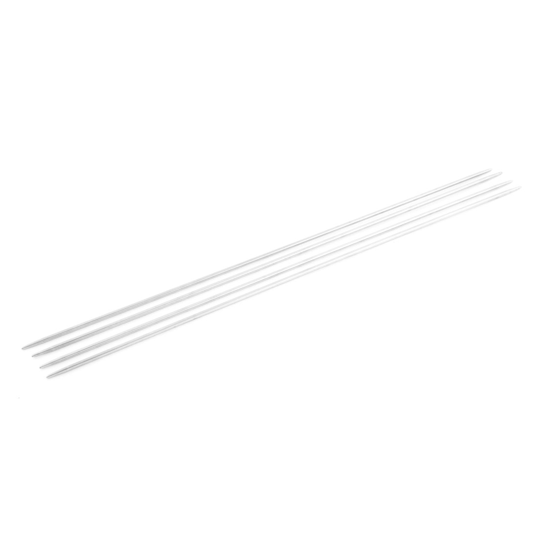 Double Point Stainless Steel Hollow Scarf Knitting Needles 4 Pcs Silver Tone