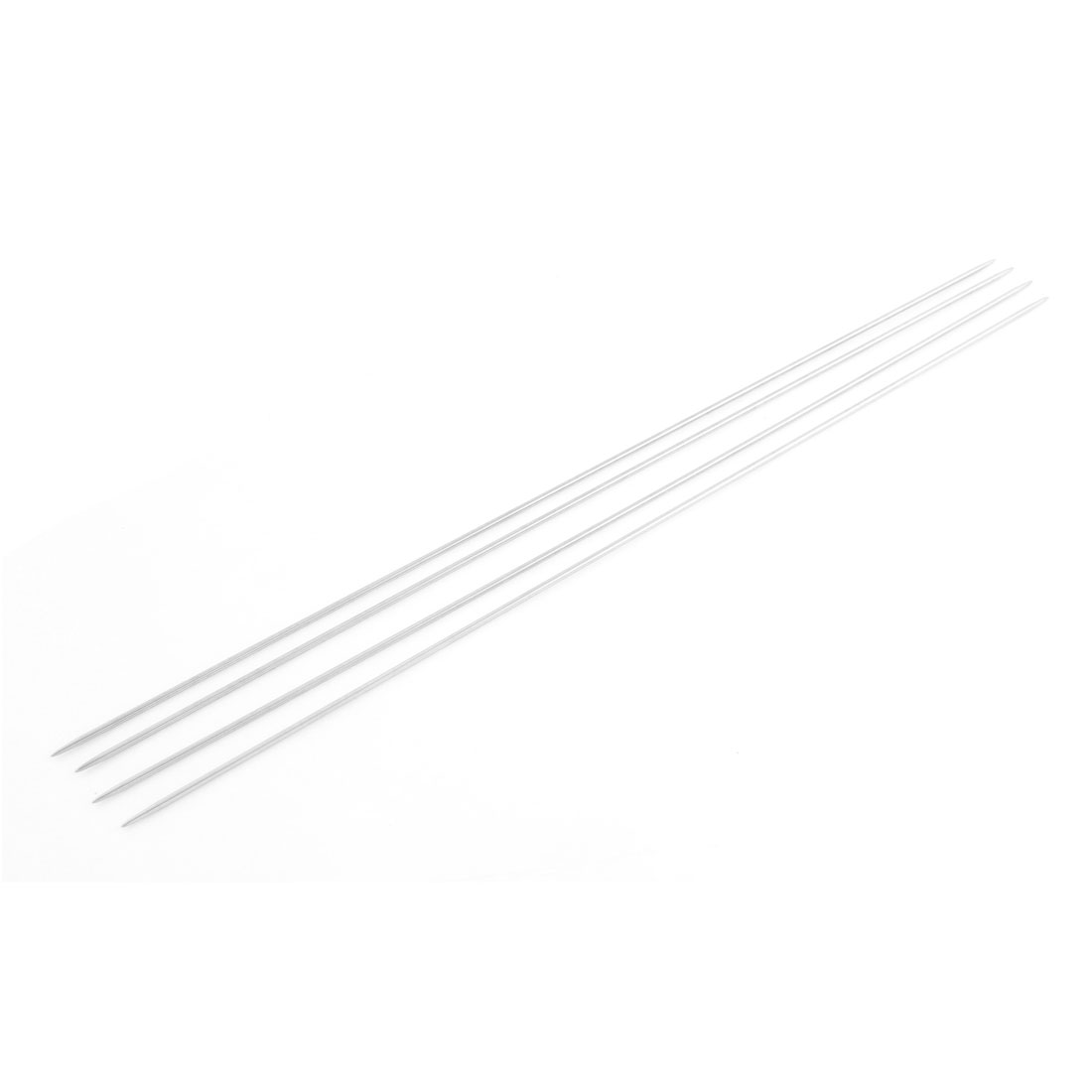 Double Point Stainless Steel Hollow Textile Knitting Needles 4 Pcs Silver Tone