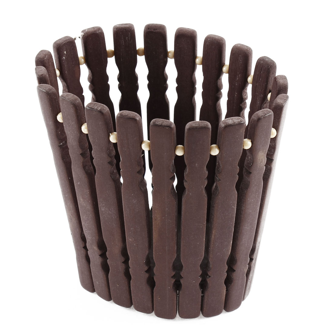 Home Beige Plastic Beads Decor Bamboo Pen Holder Chocolate Color