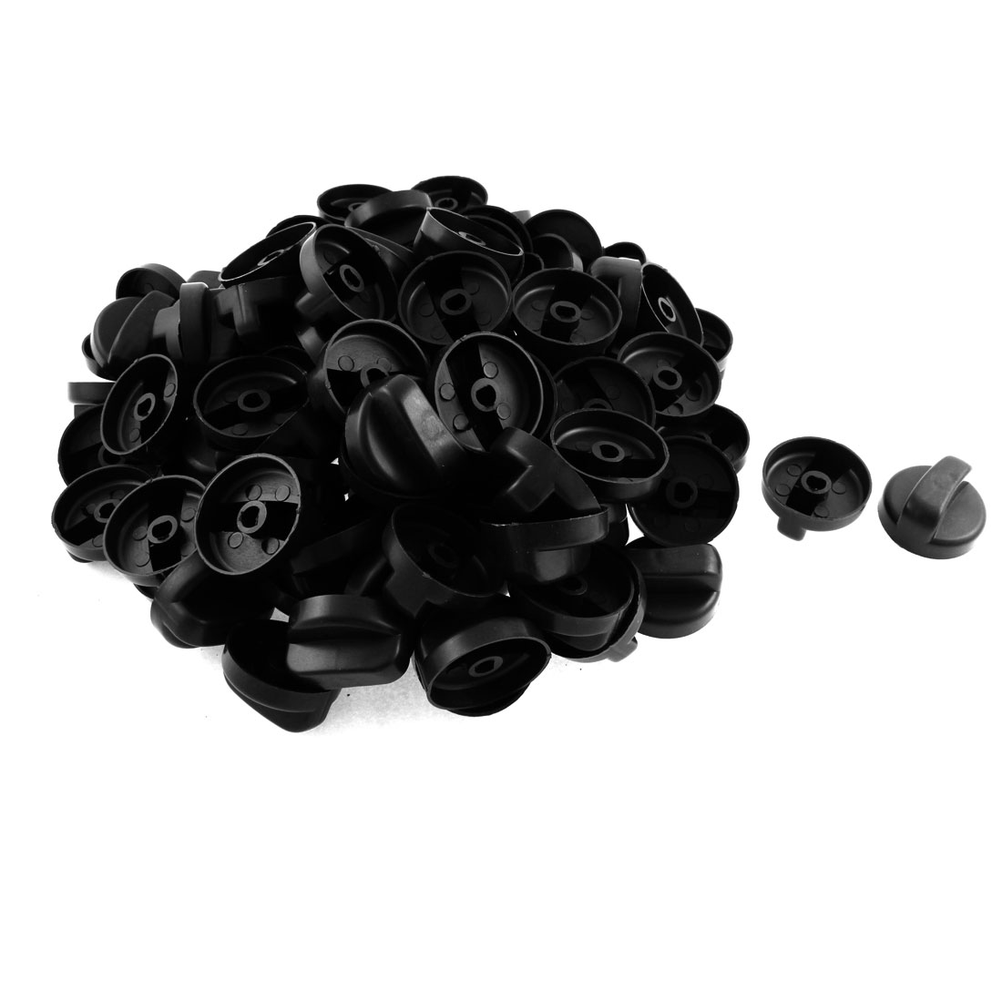 Kitchen Black Plastic Rotary Switch Range Knob for Gas Stove 100 Pcs