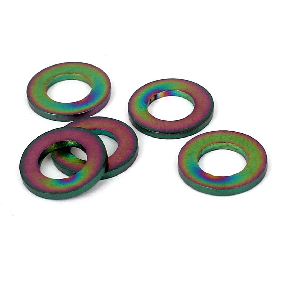5pcs M5 Colorful Titanium Ti Metric Flat Washer DIN 125 for Bike Motorcycle Car