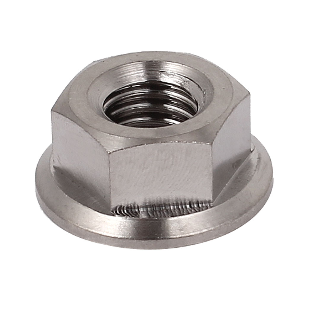 M8x1.25mm 13mm Hex Head Metric TC4 Titanium Flange Nut Bolt Silver Tone DIN 6923
