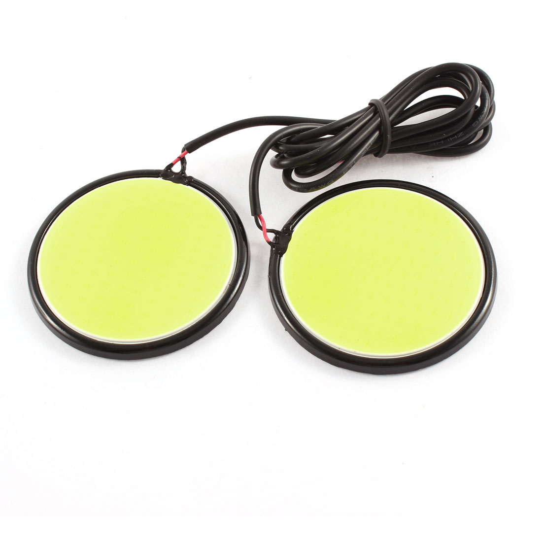 Pair Metal Round Shape White COB LED Car DRL Daytime Running Light