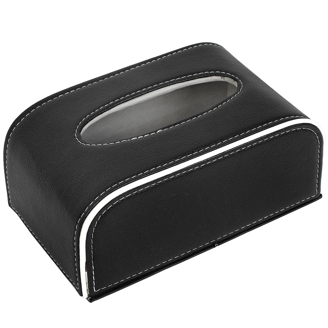 Car Auto Rectangular Paper Tissue Box Case Holder Black White 21cm x 12.5cm x 9cm