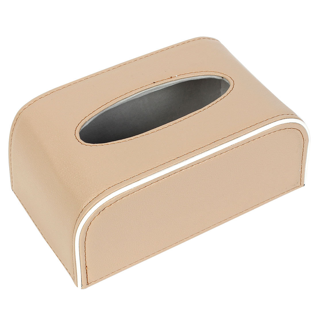 Beige White Faux Leather Rectangular Tissue Box Holder Case 21cm x 12.5cm x 9cm