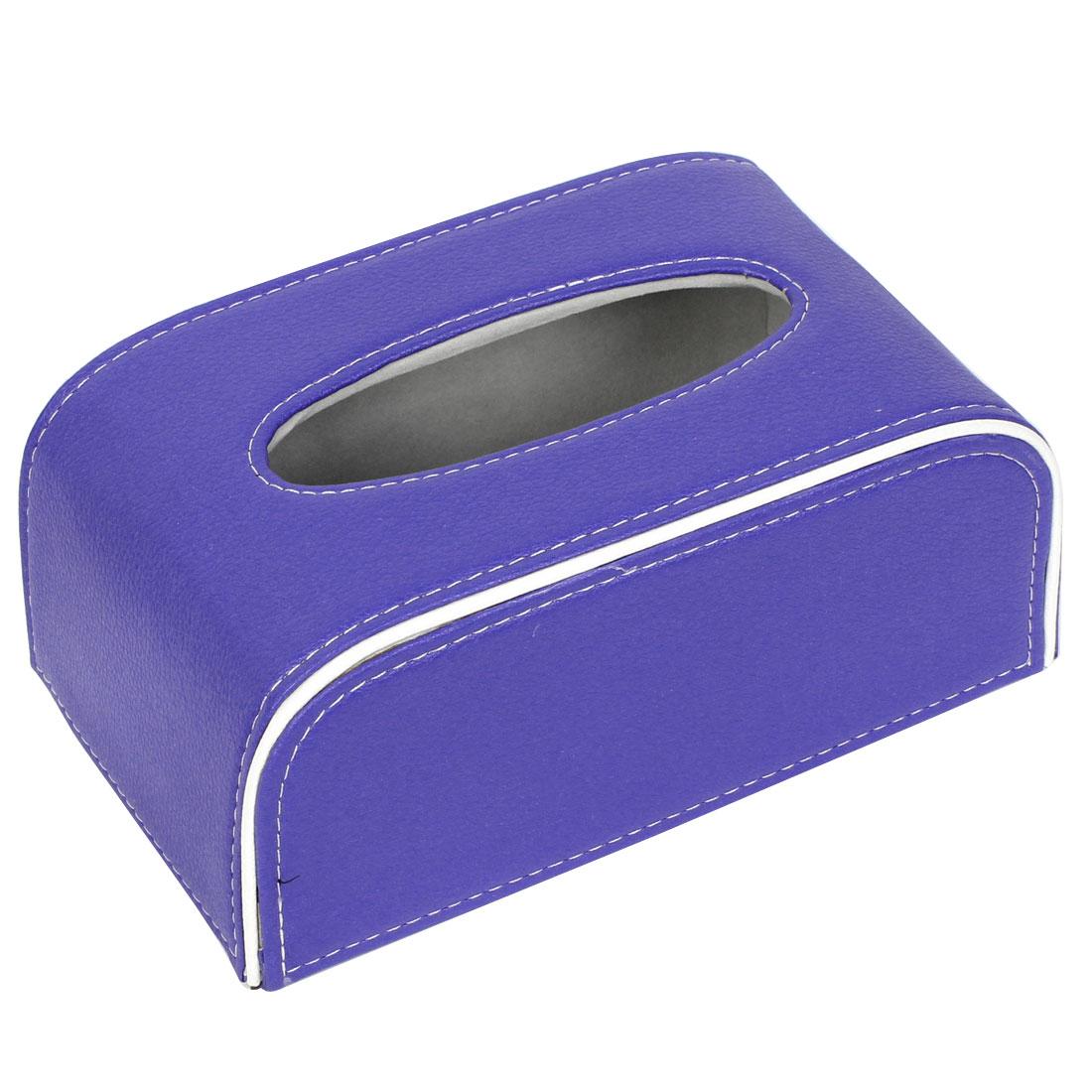 Blue White Faux Leather Rectangular Tissue Box Holder Case 21cm x 12.5cm x 9cm