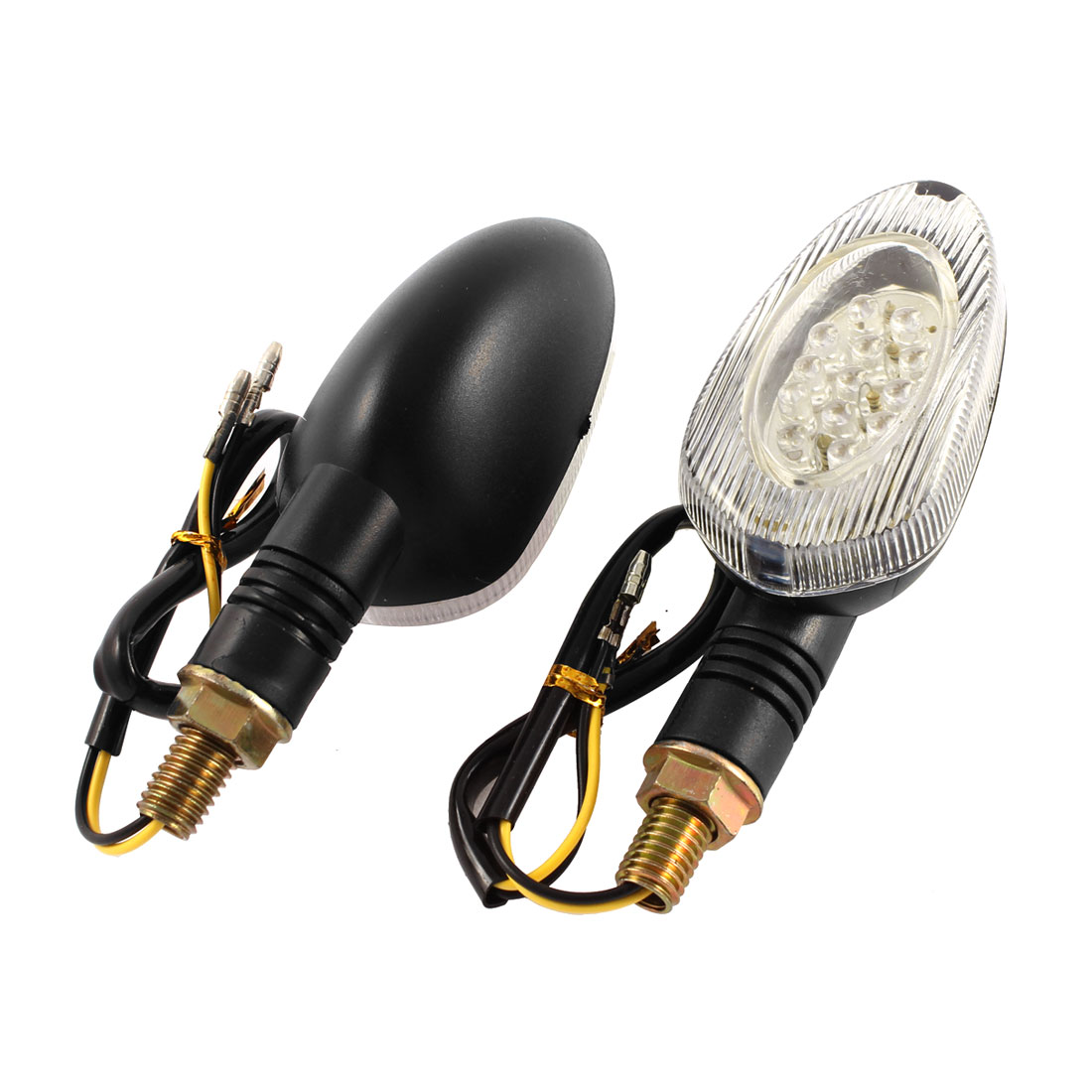 Pair Black Plastic Shell Yellow LED Motorcycle Motorbike Turn Signal Backup Light