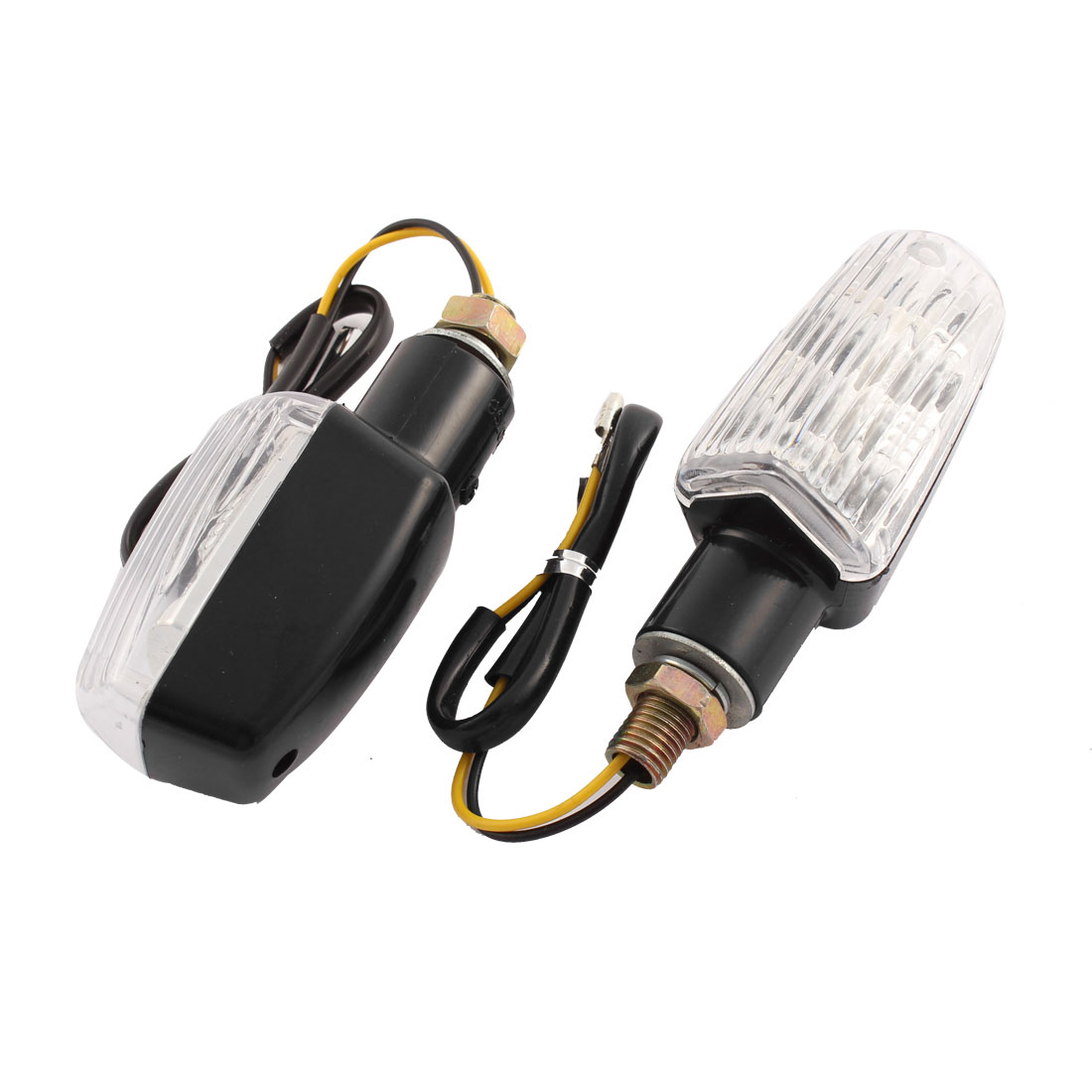 2 Pcs 9mm Thread Diameter White Turn Signal Light Indicator Lamps for Motorbike