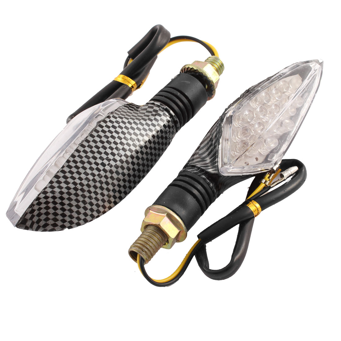 Pair Carbon Fiber Pattern Motorcycle Yellow 16 LED Turn Signal Light Indicator Lamp
