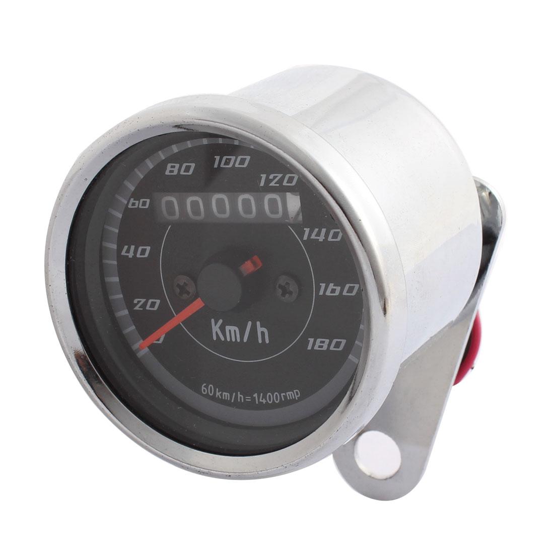 0-180km/h Motorcycle Odometer Tachometer Speedometer Sliver Tone Black