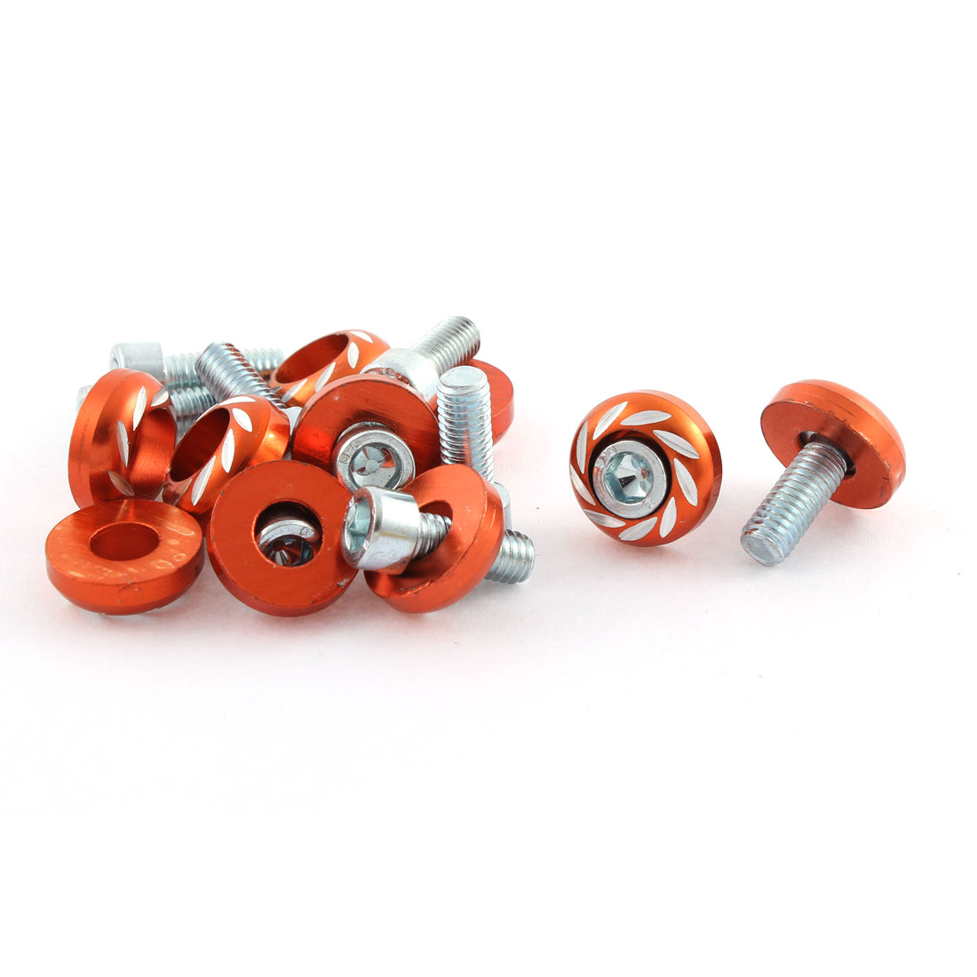10pcs Motorcycle Orange Round Head License Plate Frame Bolts Screw 6mm