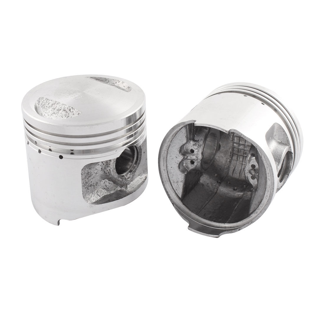 2 Pcs 56mm Dia Aluminum Alloy Engine Piston Sliver Tone for CG125 Motorcycle