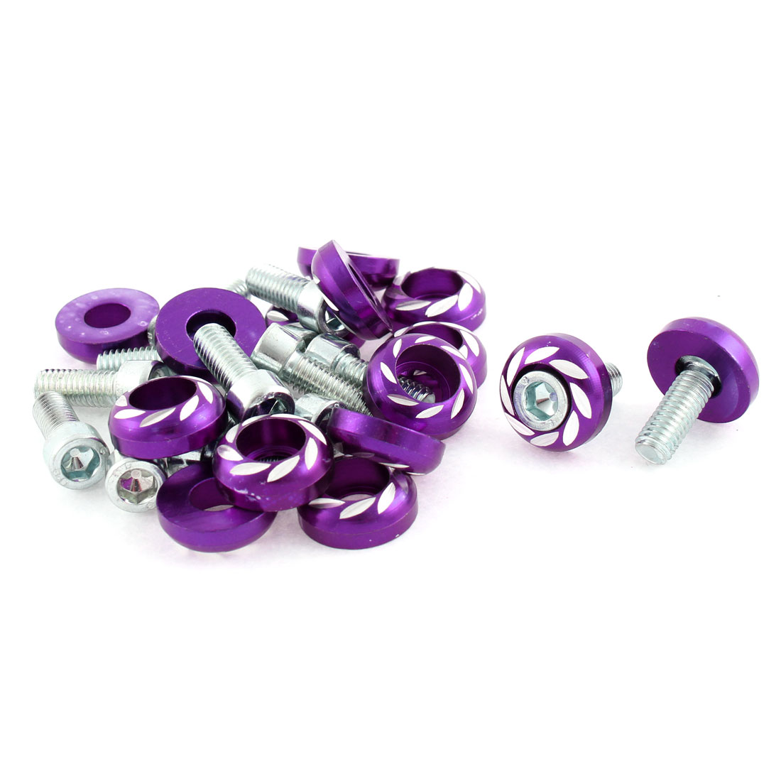 15 Pcs M6 Thread Diameter Purple Round Car License Plate Bolt Screw