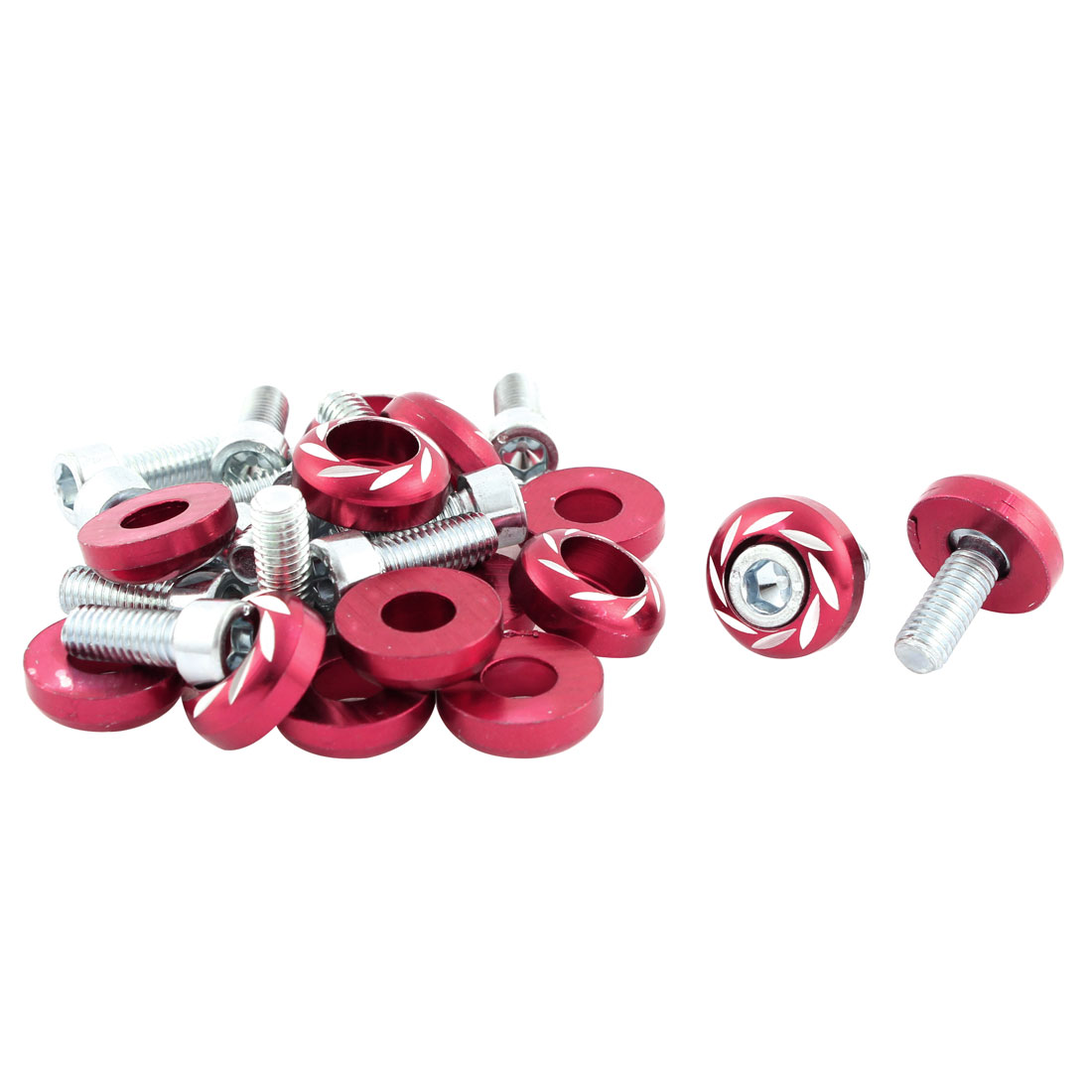 15 PCS Red Metal Hex Socket M6 Thread Dia Car License Plate Frame Bolt Screw