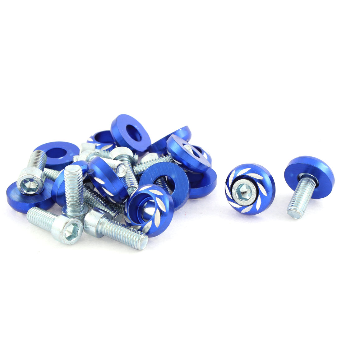 15 Pcs Blue Round Car License Plate Bolt Screw 5mm Thread Dia