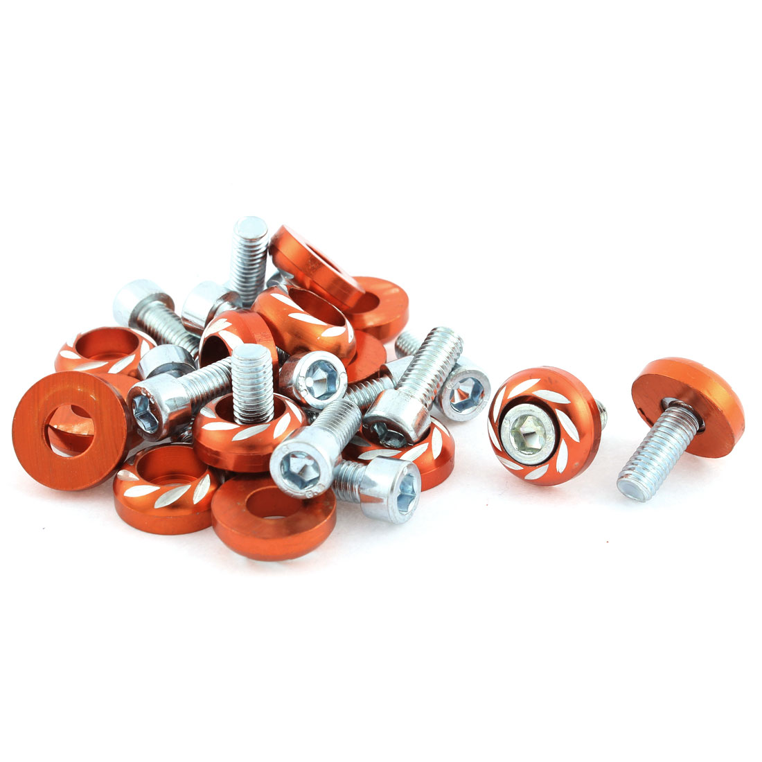 15 Pcs Orange Metal License Plate Bolt Screw for Car