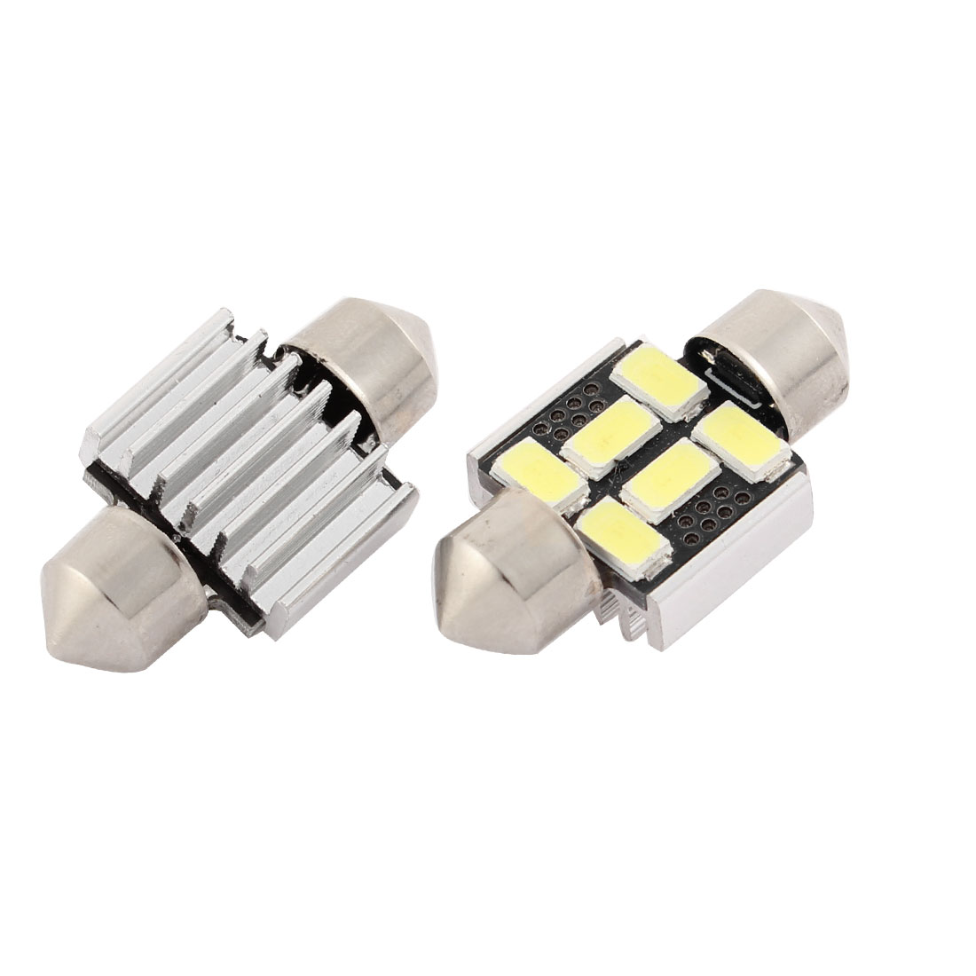 2 Pcs Car 31mm 5630 6 SMD Festoon LED Light White Dome Map Bulb Lamp DC 12V Interior