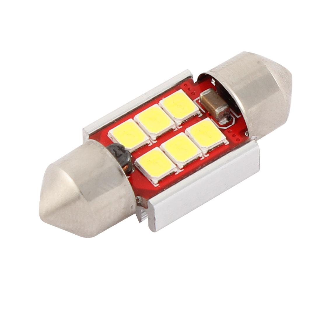 White 3528 6 SMD LED Auto Internal Map Light Dome Bulb 31mm Festoon Bulbs DC 12V Interior