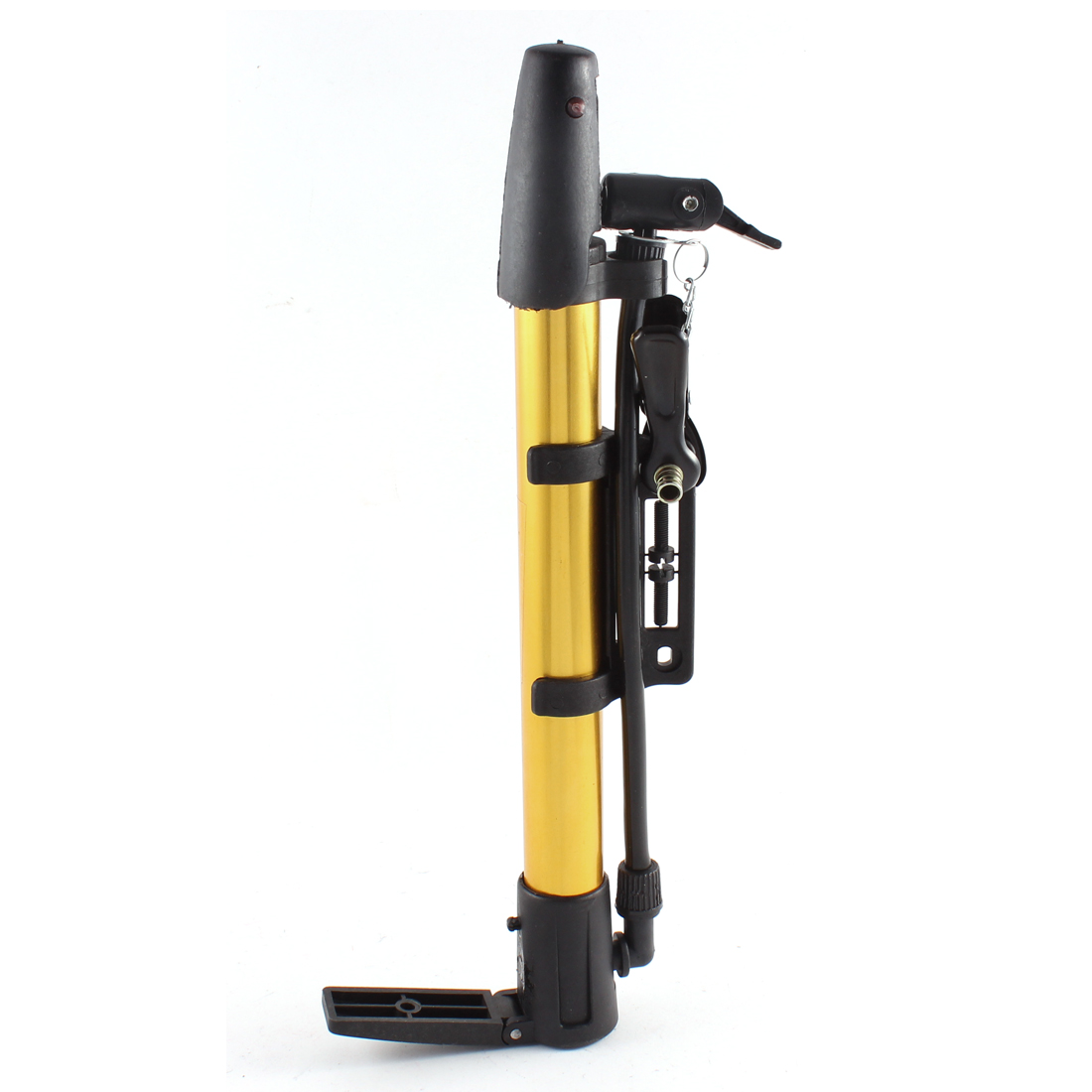 Bicycle Bike Tyre Manual Floor Pump Basketball Inflator Gold Tone