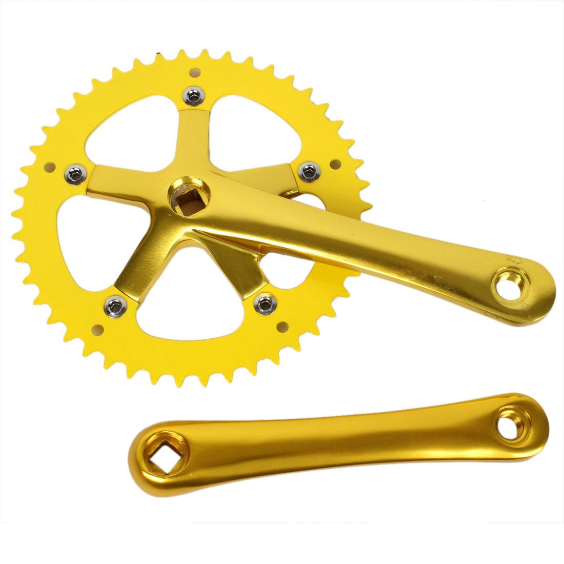 Bicycle Bike 46 Teeth Chain Wheel Front Crankset Gold Tone 170mm Dia