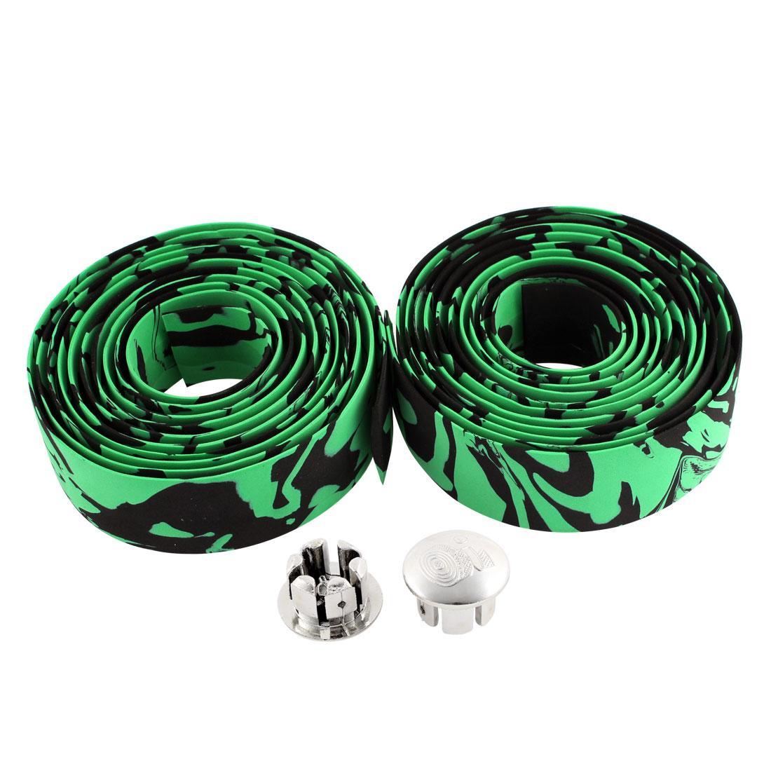 Road Bike Bicycle Drop Bar Handlebar Anti Slip Tape Wrap Black Green 2 Pcs