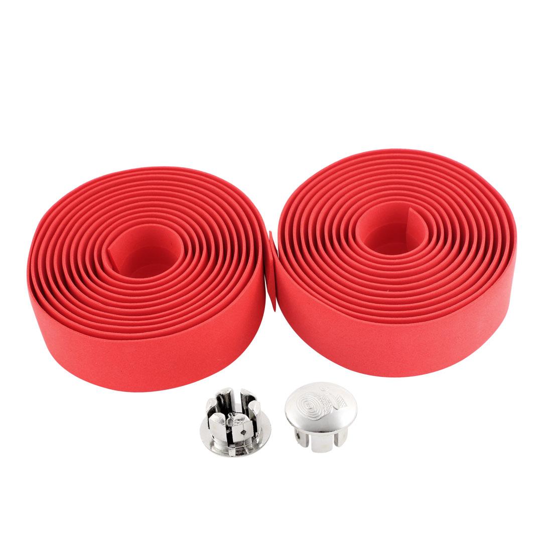 Pair Red Padded Foam Bicycle Bike Bar Handlebar Tape Ribbon 200cm