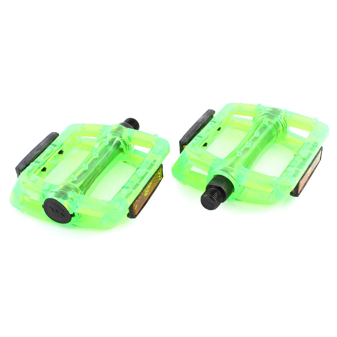 2 Pcs Bike Bicycle 13mm Thread Green Plastic Platform Pedal Replacement