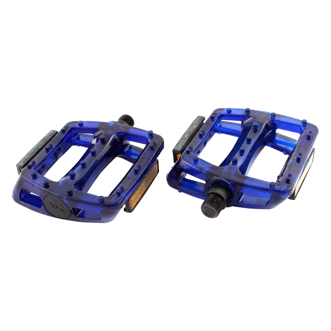 2 Pcs Fixed Gear Bike Bicycie Royal Blue Metal Platform Pedal Part