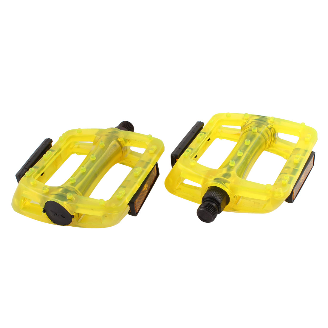 Pair Mountain Road Bike Bicycle Plastic Nonslip Platform Flat Cage Pedals Yellow