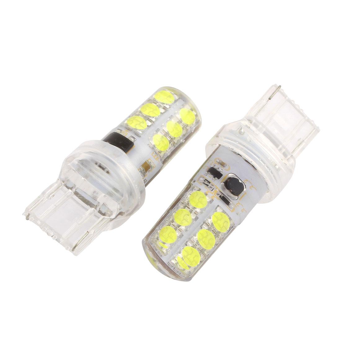 Pair Car T20 7440 12 LEDs White Turn Brake Stop Light Lamp Bulb internal