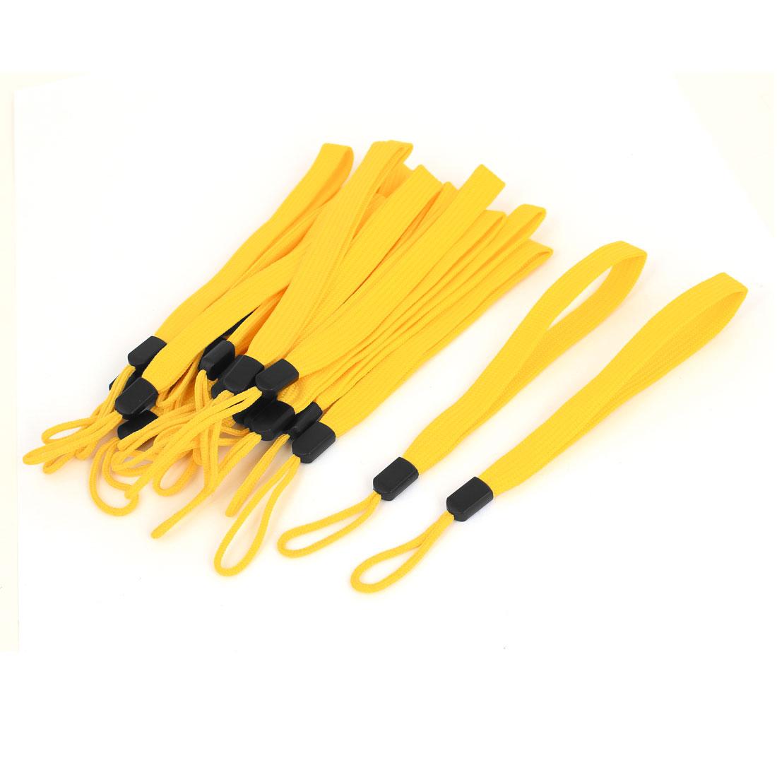 16cm Length Lanyard Strap Hang Rope 20Pcs Yellow for Smartphone Selfie Stick Monopod