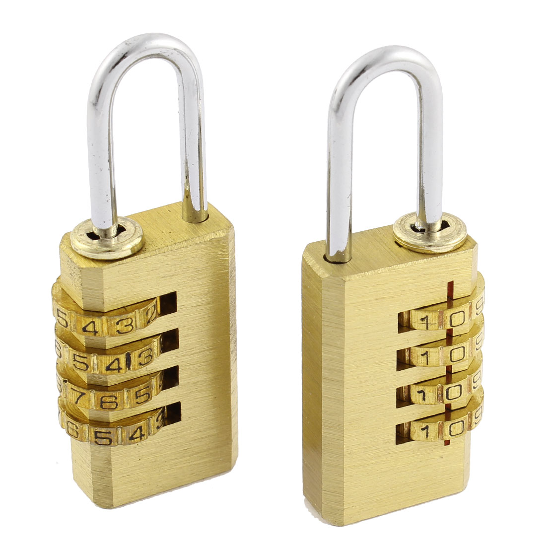 Cupboard Boxes 4 Digit 0-9 Number Resettable Combination Lock Padlock Gold Tone 2Pcs
