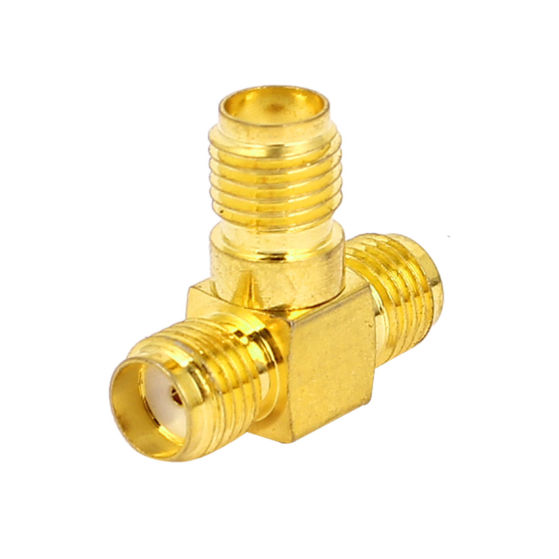 Gold Tone Straight SMA Female to Double SMA Female RF Coax Tee Connector