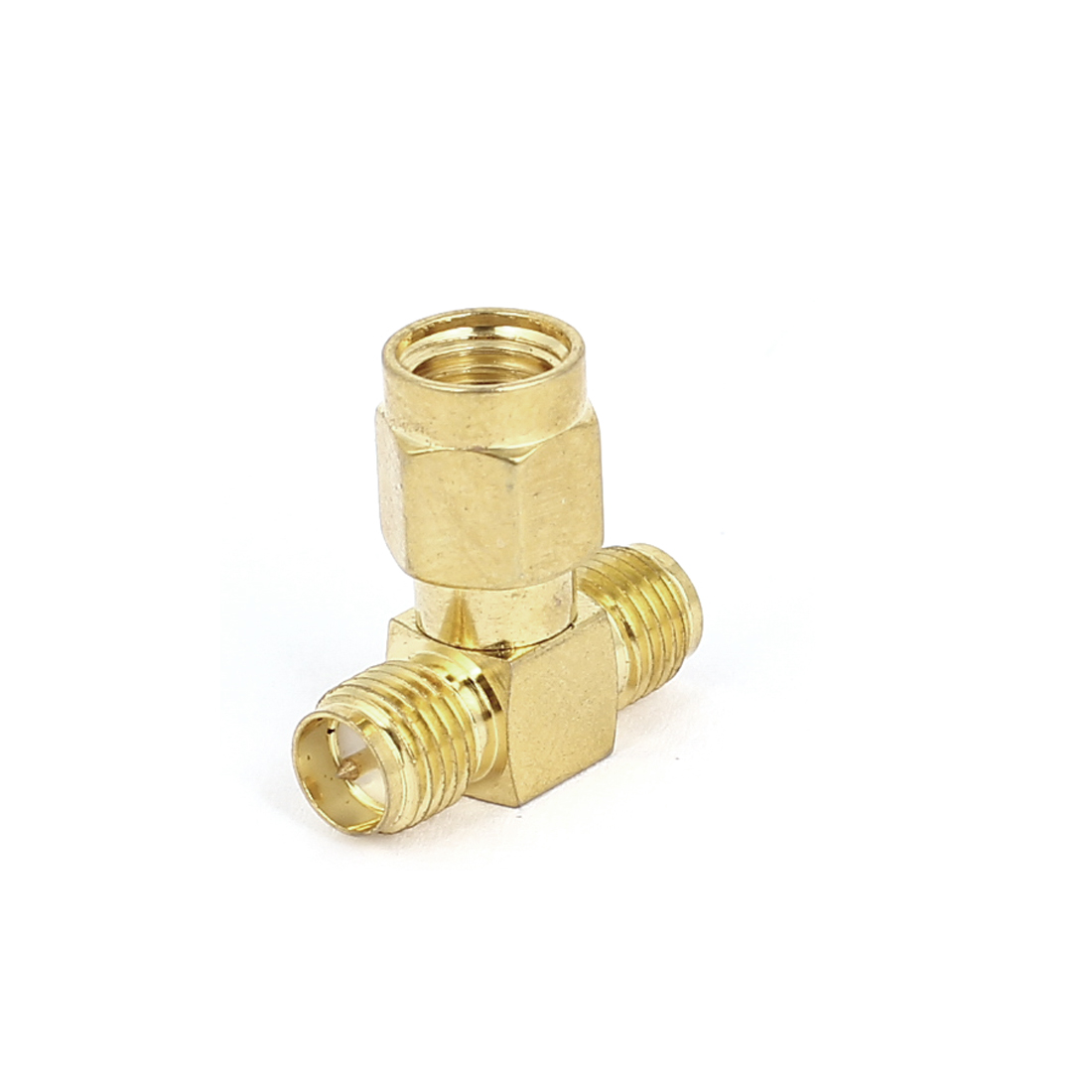Gold Tone Straight SMA Female to Double SMA Male RF Coax Tee Connector